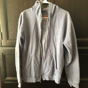 Men's Blue Hooded Full Zip Jacket